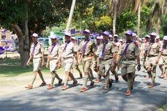春武里市,泰国- 4月4,2015在Vajiravudh在第20个泰国全国侦察员狂欢活动的侦察员阵营 免版税库存照片