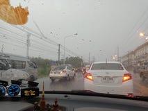 春武里市,泰国3月09,2018 :春武里市在Ma的` s雷暴 免版税库存图片