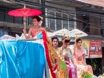 春武里市, THAILAND-APRIL 13 :春武里市Songkran节日 库存照片