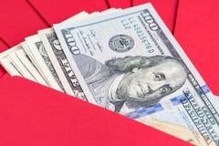春节与愉快的金钱信封,闭合的问候 免版税库存图片