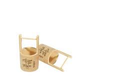 春节庆祝竹微型篮子  库存照片