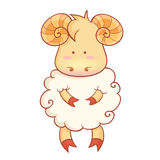 春节标志逗人喜爱的绵羊字符  库存照片