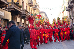 春节游行在米兰 库存照片