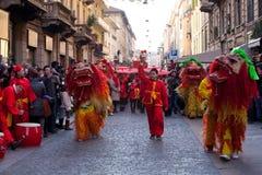 春节游行在米兰 图库摄影