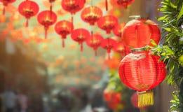 春节灯笼在唐人街 库存图片