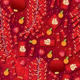 春节红颜色无缝的样式 向量例证