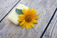 春黄菊自然肥皂和花  免版税库存照片