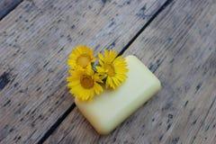 春黄菊自然肥皂和花  库存图片