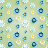 春黄菊雏菊开花无缝的样式 也corel凹道例证向量 免版税库存图片