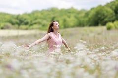 春黄菊领域的女孩与被伸出的胳膊 免版税库存图片