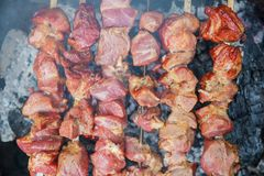 是一些肉的串特写镜头烤烤肉 图库摄影