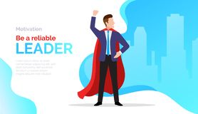 是一位可靠领导,刺激与商人的海报在红色斗篷,成功,企业成就,促进 库存例证