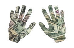 是两只的手足够的金钱 免版税图库摄影