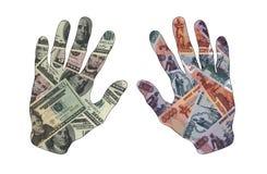 是两只的手足够的金钱 免版税库存照片