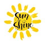 是亮光传染媒介例证 乐趣行情 递在与太阳微笑的面孔的激动人心的印刷术海报上写字 手写的横幅, 皇族释放例证
