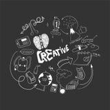是创造性的在研究中 乱画手拉的元素 研究概念的商标 库存图片