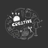 是创造性的在缝合 乱画手拉的元素 缝合的概念的商标 免版税库存图片