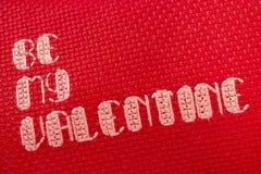 是在红色缝的我的华伦泰十字架 图库摄影