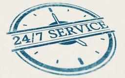 总是开放的服务, 24个小时和每星期七天 库存例证