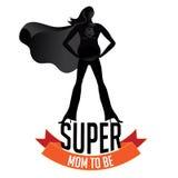 是愉快的母亲节怀孕的超级的妈妈 免版税库存图片