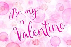 是我的华伦泰,桃红色贺卡为情人节与听见 免版税库存照片
