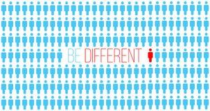 是或认为不同 是不同的在人群,成功的移动 个性成功的概念 唯一的人员 事务 库存例证