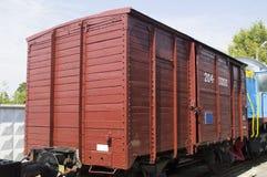 是放掉在最后19个世纪的铁路木汽车 免版税库存图片