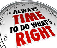 总是时刻做什么是正确的说法时钟行情 免版税库存图片