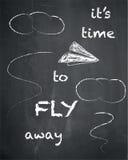 是时间飞行在黑板背景,传染媒介, il的去行情 库存照片