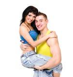 是有吸引力的夫妇嬉戏的 免版税库存图片