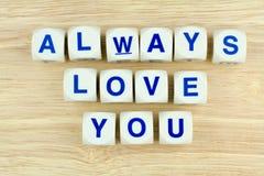 总是爱您字母表立方体 免版税库存图片