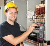 是电工对培训 库存照片