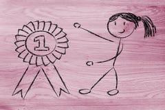 是的女孩第一,优胜者 免版税图库摄影