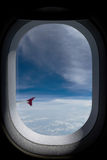 是的飞机有图象被去除的视图视窗 库存图片