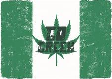 是绿色海报 加拿大合法化概念 使用大麻杂草叶子 大麻题材 减速火箭的被称呼的横幅,补丁,邮票或 皇族释放例证