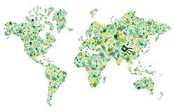 是绿色现有量世界地图 免版税库存照片