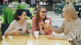 是谈话和笑在咖啡馆然后使玻璃叮当响一起庆祝团聚开会的愉快的年轻人在桌上 股票视频