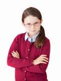 是逗人喜爱的女孩严肃的 免版税库存图片