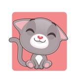 是逗人喜爱的灰色的猫愉快的 免版税库存图片