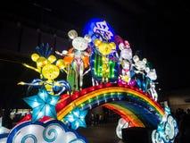 `是鼠的黄道带标志的月球灯笼`鼠从在环形码头的黄昏将被照亮由艺术家郭建 免版税库存照片