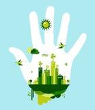 是绿色城市手概念 免版税库存图片