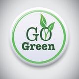 是绿色-传染媒介按钮徽章 向量例证