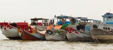 是cai浮动的市场越南 免版税库存照片