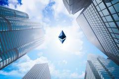 是ethereum隐藏货币和企业大厦的混杂的图象 库存图片