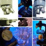 显微镜。 拼贴画 免版税库存照片