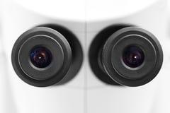 显微镜双眼目镜特写镜头 库存照片