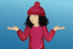 显示一个姿态用两只手的帽子的小愉快的女孩 库存例证
