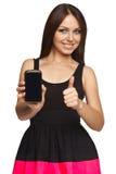 显示一个巧妙的电话的妇女 库存照片