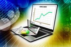 显示一个报表和一张纸与统计图的膝上型计算机 免版税库存照片