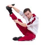 显示一些运动的迪斯科舞蹈家反对被隔绝的白色背景 免版税库存照片